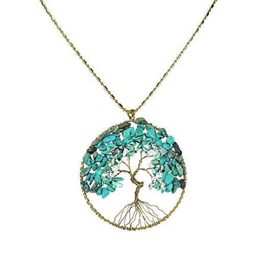AeraVida Eternal Tree of Life Simulated Turquoise Brass Beads Long Necklace