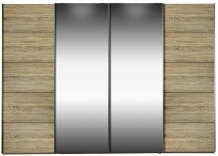 Armario synkro roble/Espejo de cristal by arte Armario de puertas correderas M: Amazon.es: Hogar