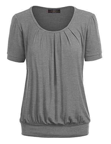 Made By Johnny MBJ WT1175 Womens Scoop Neck Short Sleeve Front Pleated Tunic L Heather_Dark_Grey