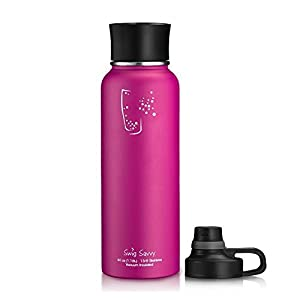 Swig Savvy BPA-Free Leak-Proof Stainless Steel Wide Mouth Insulated Water Bottle with Interchangeable Caps, 40 oz, Pink