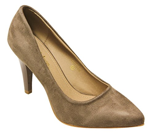 Bella Marie Lory-2 Womens pointy toe suede high heel pumps Taupe 189xMOfm