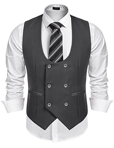 Coofandy Men's Slim Fit Dress Suits Double Breasted Solid Vest Waistcoat Gray Small