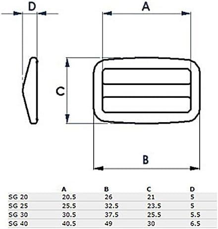 Regulator 10 Stck Schieber Versteller Slimglide aus Nylon f/ür 20mm Gurtband