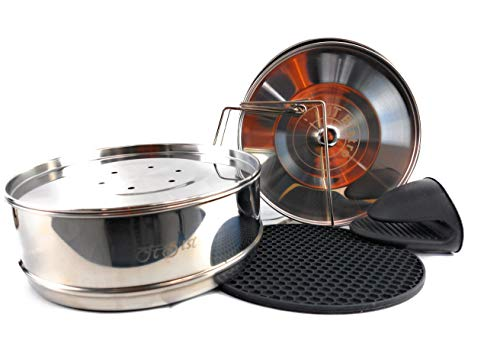 Stackable Insert Pans Instant Pot Accessories for 5.5,6, 8, 10Qt - Pressure Cooker, Pot in Pot Accessories -2 Interchangeable Lids