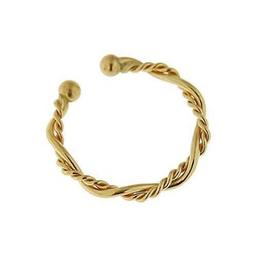 9 Karat Solid Yellow Gold 22 Gauge - 8MM Length Circular Rope Septum Fake Nose Ring