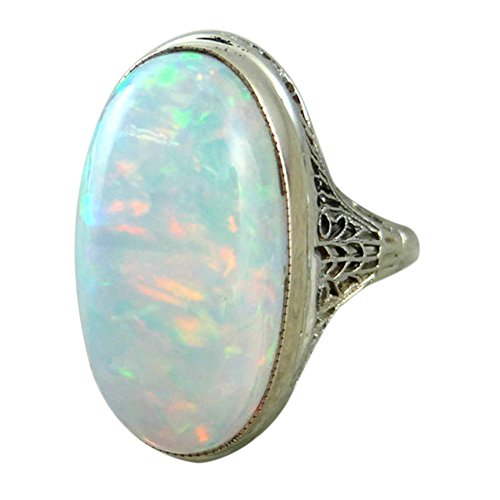 Women Vintage Big Artificial Opal Engagement Rings Anniversary Jewelry...
