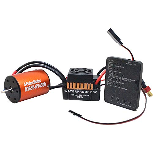 Waterproof B3650 4300KV Brushless Motor 60A ESC Program Card Combination for 1/10 RC Car Truck Special Programming Card (1) 3 Sets ()