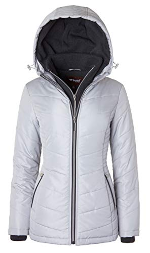 Women's Down Alternative Quilted Midlength Vestee Puffer Jacket with Fleece Hood - Pewter (Largre)