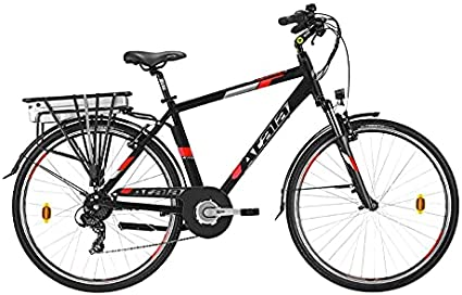 Modelo Atala 2021 - Bicicleta eléctrica de trekking con batería eléctrica E-Run FS 6.1, color negro y rojo, 360, talla M 49