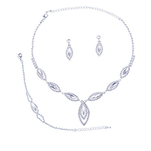 Topwholesalejewel Bridal Jewelry Set Silver Crystal Rhinestone Necklace Earring For ()