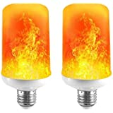 LED Flame Effect Light Bulb 7W E26 Standard Base 4 Modes Simulated Realistic Burning Fire Light for Home/Outdoor/Hotel/Bar/Party Especially in Festivals, Birthday, Halloween, Christmas(2 Pack)