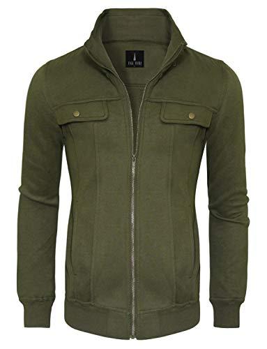 - TAM WARE Mens Zip Up Convertible Collar Jacket TWJK11-KHAKI-US XL
