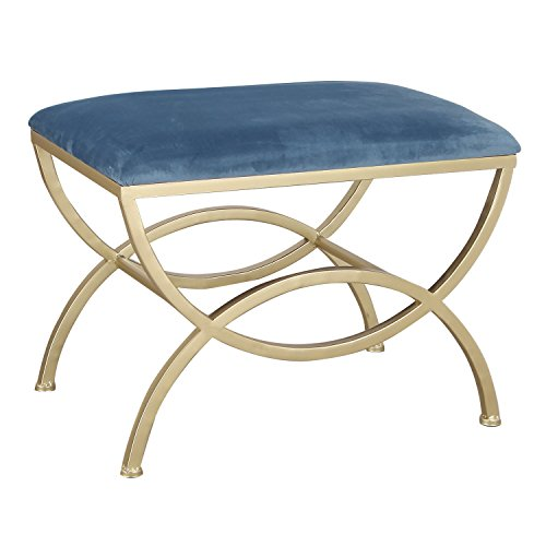 Modern Style Fabric Bench Ottoman Chair Footstool With Metal Stands, Dark Blue (Footstool Ottoman Fabric)