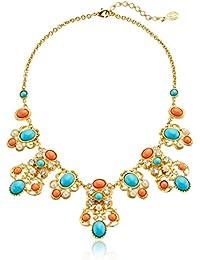 "Santorini Turquoise Coral Stone Gold Pendant Necklace, 15"" + 2"" Extender"