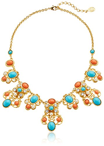 Ben-Amun Jewelry Santorini Turquoise Coral Stone Gold Pendant Necklace, 15