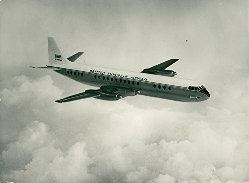 British Airways Airliner - Vintage photo of This is a new impression of the Vickers Vanguard turbo-prop airliner, due to come into service with British European Airways in 1960.