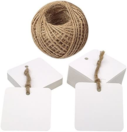 100pcs Square Kraft Paper Gift Tags Luggage Label Wedding Favors with String