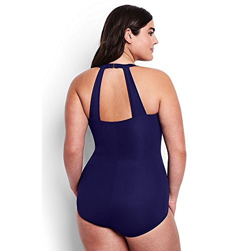 Lands' End Women Plus Size Long Torso Slender Tunic One Piece Swimsuit, 24W, Dark Purple - Resistant Chlorine Fabric