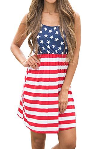 Women's Sleeveless Floral Print Stars and Stripes Racerback Midi Tank Dress USA Flag (Large, -