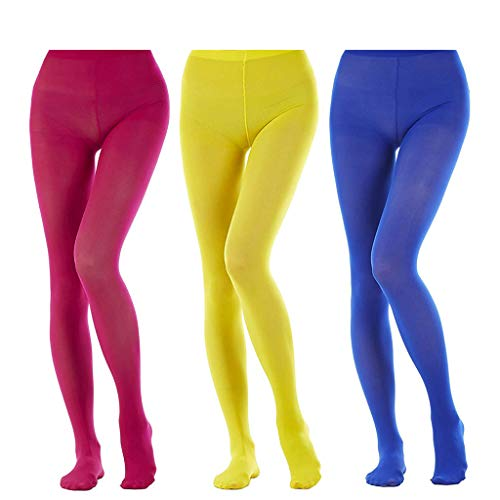 Rose Stocking - 3 Pairs Women's Full Footed Panty Hose Leggings Tights Hosiery - Queen Size(rose red, blue, yellow)