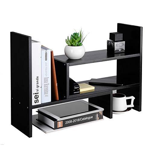 (Desktop Organizer Office Storage Rack Adjustable Natural Wood Display Shelf Stand Rack Wood Desk Organizer Set Office Storage Expandable Tabletop,Black)