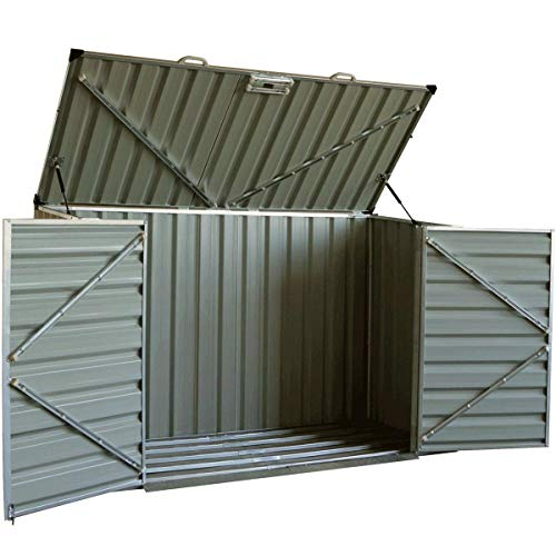 - Click-Well 7x3 Metal Storage Shed Kit. Low-Profile Horizontal, Ideal for Trash (3x64gal), Garden Tools, BBQ Grills, Firewood, Adult Bikes, Mowers, Well Pump, Pool Pump/Filter, Animal Feed, etc.