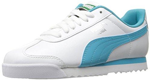 PUMA Roma Basic Glitter JR Sneaker, White/Blue Atoll, 5 M US Big Kid (Glitter Basic)