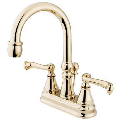 - Kingston Brass KS2612FL Royale 4-Inch Centerset Lavatory Faucet, Polished Brass