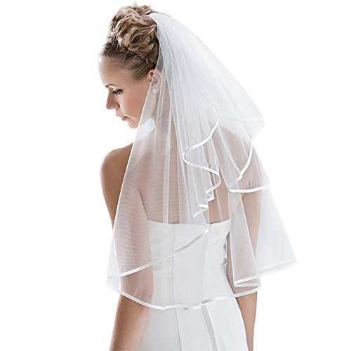 Bridal Veil Women's Simple Tulle Short Wedding Veil Ribbon Edge With Comb for Wedding Bachelorette Party (White)