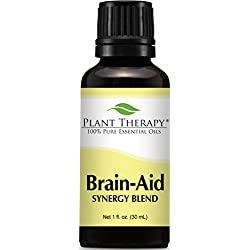 Plant Therapy Brain Aid Synergy (for mental focus and clarity) Essential Oil Blend 100% Pure, Undiluted, Therapeutic Grade 30 ml (1 oz)