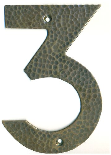 Copper house number, Arts & Crafts font Number 3, 4 inch by The Metal Peddler