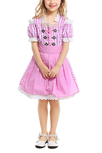 Girls Kids Oktoberfest Costume Dress, Bavarian Beer Festival Maid Dirndl Dress for Halloween Carnival (Pink, L) ()