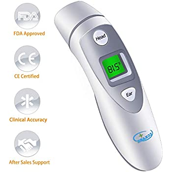 Infrared Digital Thermometer Forehead and Ear Thermometer for Baby,Kids and Adults with FDA and CE Approved