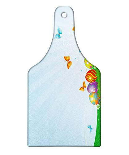 Butterfly Meadow Design Wine Glass - Lunarable Easter Cutting Board, Patterned Eggs on an Abstract Flourishing Meadow with Flying Butterflies, Decorative Tempered Glass Cutting and Serving Board, Wine Bottle Shape, Multicolor