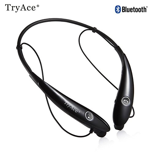 TryAce HV-900 Wireless Music A2DP Stereo CSR Bluetooth 4.0 Headset Universal Vibration Lightweight Neckband Style Headphone Earphone – Black