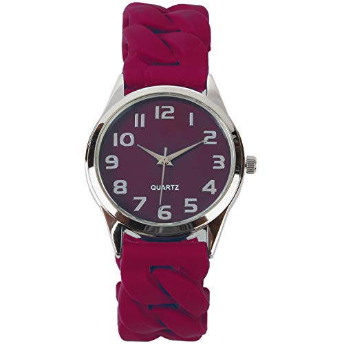 Trenton Gifts Perfect Fit Women's Easy Read Silicone Stretch Watch | Burgundy ()