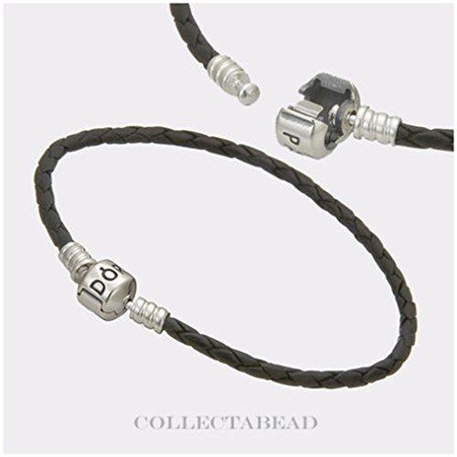 "Authentic Pandora Sterling Silver Black Leather 7.5"" Bracelet 590705CBK"