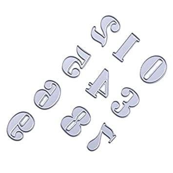 SODIAL Numero DIY Molde de Cuchillo de Acero al Carbono Letra de Corte Muere Plantilla Digital Molde Muere de Corte de Metal Album de Recortes de Papel: ...