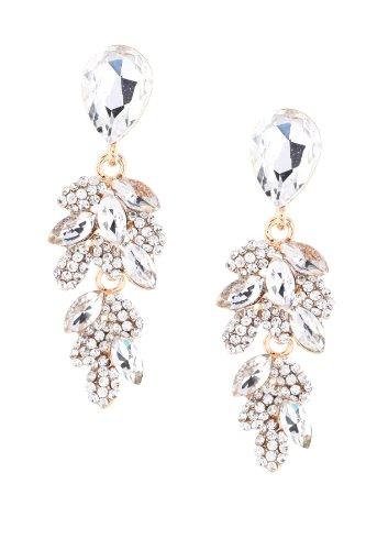 Gold Crystal Rhinestone Teardrop & Leaf Shaped Dangle Earrings (Leaf Shaped Rhinestone)