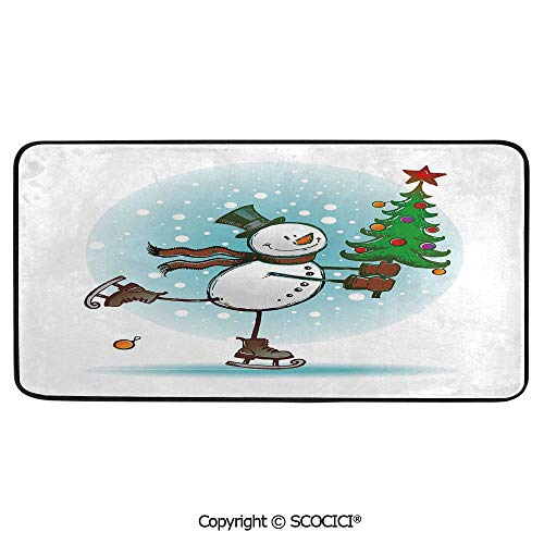 Print Door Mat, Indoor Floor Area Carpet Compatible Bedroom,Living Room,Children, Playroom, Bathroom,Snowman,Hand Drawn Style Skating Snowman with Christmas Tree and Hat,39