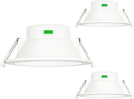 Lamparas Focos de LED Empotrables Techos Downlight LED 12W IP44 para Cocina Baño Luz 3000K 4000K 5000K Ajustable Diámetro de Agujero 120-140MM No Regulable Lot de 3 de Enuotek: Amazon.es: Hogar