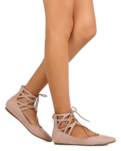 Liliana Dc48 Balletto Donna In Camoscio Con Lacci E Punta Con Zip Balletto Piatto - Nudo