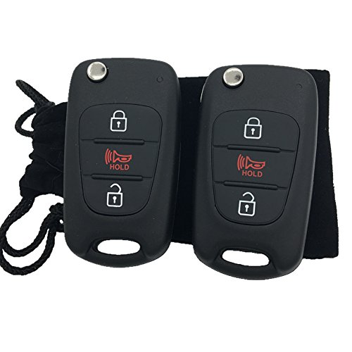 Dudely Keyless Entry Remote Control 3 Key Shell Fob Case Cover for 2010-2013 KIA Soul NYOSEKSAM11ATX (Key Shell Fob Case Only)-2 Pack