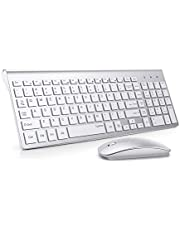 TopMate Wireless Keyboard and Mouse Combo 2.4GHz Ultra Thin Silent Wireless Keyboard and Mouse Ergonomic Design for Laptop PC | Silver White