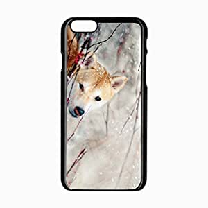 iPhone 6 Black Hardshell Case 4.7inch dogs snow branch eye wind Desin Images Protector Back Cover