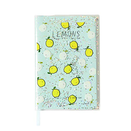 Cupcinu Sequin Notepad Rubber Case Notebook Paper Subject Notebooks Shimmering Fun Sequins Will Change Colors18.3X12.8CM (lemon) ()