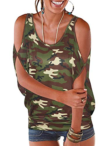 LEIYEE Womens Cold Shoulder Tops Short Sleeve Camo T Shirt Pullover Casual Dolman Blouses (M, Cmao)