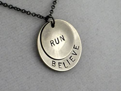 Believe in your Run Necklace - Hand Stamped Nickel Silver Pendants in 18 inch Gunmetal Chain