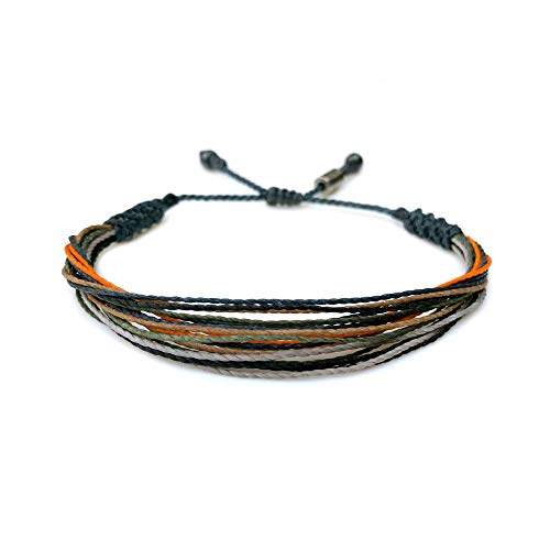 RUMI SUMAQ Woven Thread Rope Bracelet for Men in Navy Orange Pine Green and Gray w Hematite Stones