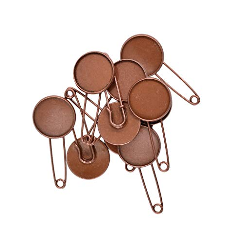 (10pcs Metal Kilt Pin Scarf Safety Ornate Brooch Knitting Stitch Holder With Base | Color - Copper)